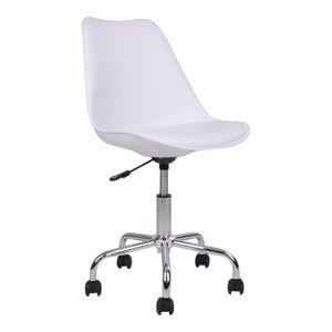 """House Nordic Moderne Bureaustoel in wit met chromen poten """"Stavanger"""" - L54xB48xH84-94  CM"""