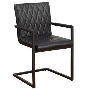 Vince Design Industriële eetkamerstoel ''Rombo'' - zwart - zithoogte 50cm