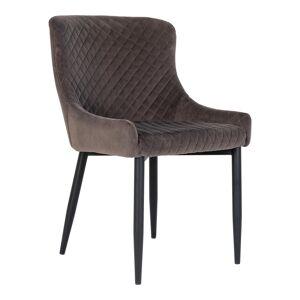 """House Nordic Moderne eetkamerstoel in grijs fluweel met zwarte poten """"Boston"""" - L62.5xB52xH82 CM"""