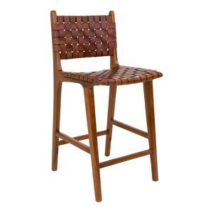 "House Nordic Barstoel in bruin met bruin leer ""Perugia"" -  L45.5xB46xH101 CM"