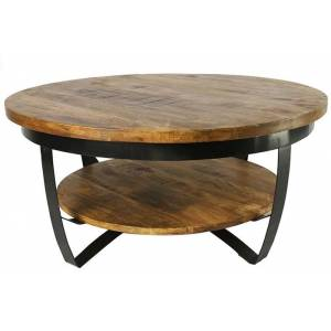 Countryfield Industriële bruine ''Bombay'' tafel L  - L90xB90xH43 cm