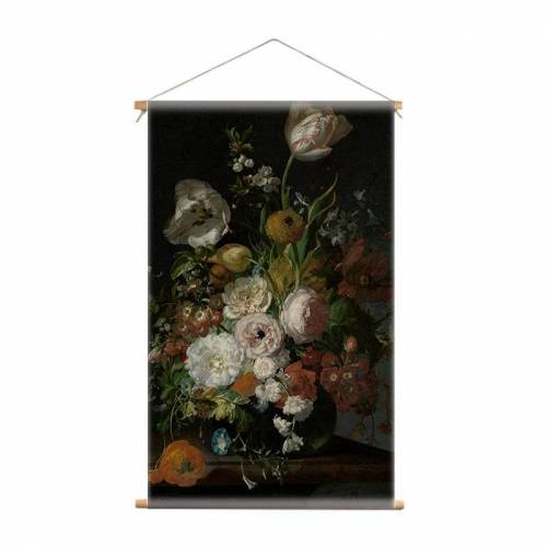 iDecorate Textiel poster stilleven bloemen Rachel Ruysch   Oude meester - 60x100cm