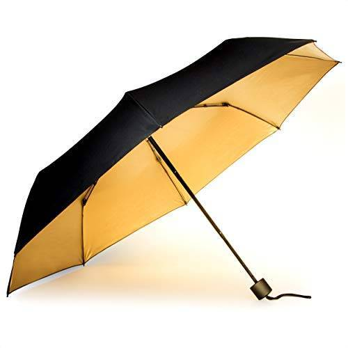 SK UMBRELLA3 Suck UK Zwarte en gouden winddichte paraplu   reisparaplu   Lichtgewicht compacte paraplu   Opvouwbare paraplu   Handmatige telescoop paraplu   Sterke paraplu   Handtas Essentials