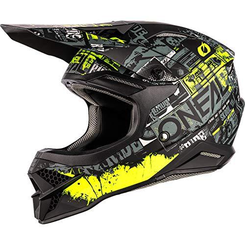 0627-142 O'NEAL   Motorcross-helm   MX Enduro   ABS-schaal, veiligheidsstandaard ECE 2205, ventilatieopeningen voor optimale ventilatie en koeling   3SRS Helmtocht   Volwassen   Zwart/Neon Geel   Maat S