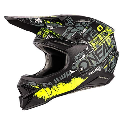 0627-144 O'NEAL   Motorcross-helm   MX Enduro   ABS-schaal, veiligheidsstandaard ECE 2205, ventilatieopeningen voor optimale ventilatie en koeling   3SRS Helmtocht   Volwassen   Zwart/Neon Geel   Maat L