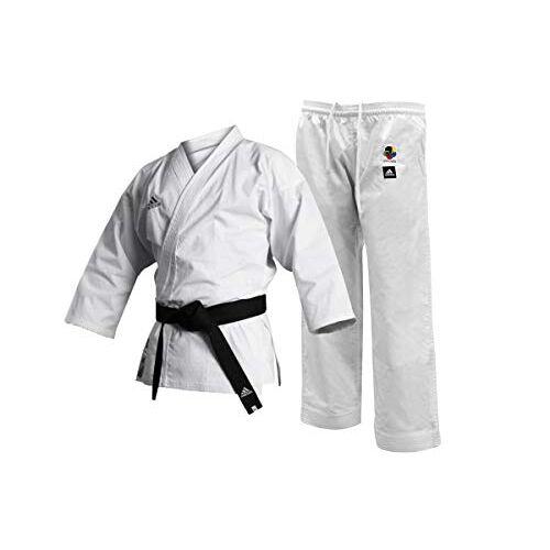 K220C-160 adidas Mannen WKF Club Karate Uniform-8oz Vechtsporten Student Gi, Wit, 160cm