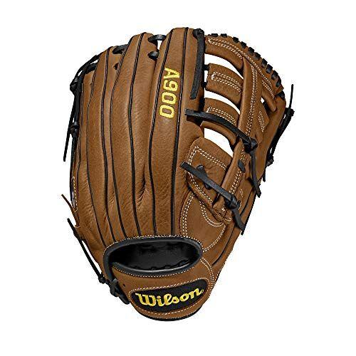WTA09RB20125 Wilson Honkbalhandschoen, A900, maat: 12,5 inch, geschikt voor alle posities, rechtswerper, handschoen voor de linkerhand, leer, bruin