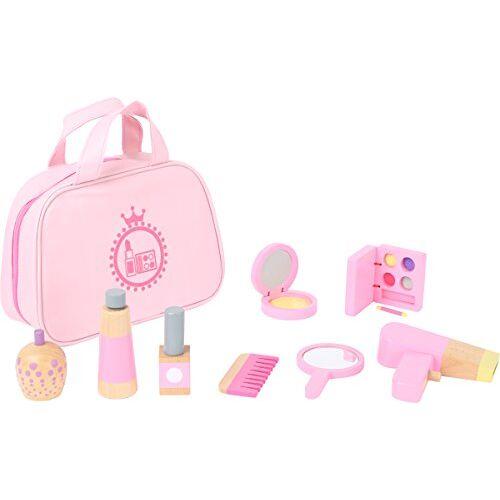 10607 small foot  Make-up speelset van hout in roze voor kinderen, grappig rollenspel in draagtas speelgoed, 0