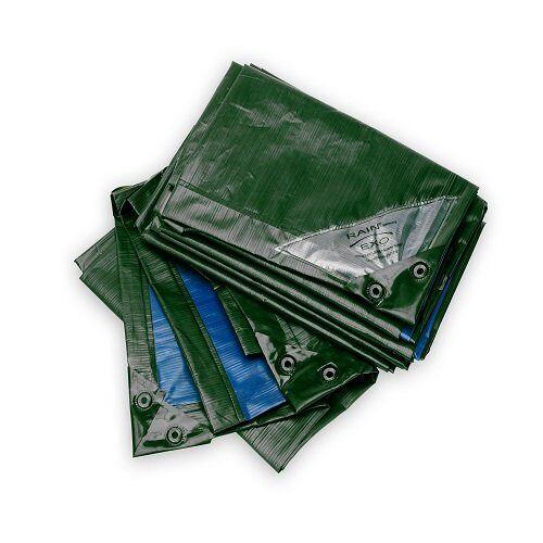 RX150-2X3-GB Rainexo afdekzeil, 150 gram/m2, bi-kleur groen-blauw, incl. oogjes, gepatenteerd 2 x 3 m