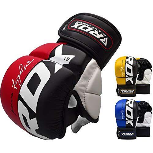 B004YWATHY RDX MMA handschoenen voor vechtsporten training en grijpen   goedgekeurd door SMMAF   Palm-O Maya Hide lederen sparring wanten   Goed voor Kickboksen, Muay Thai, kooivechten, ponszak & vechtsporten