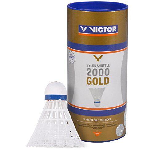 009/2/0 VICTOR Badminton shuttle nylon 2000 doos met 6 stuks, wit/blauw