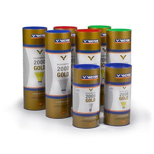 009/7/0 VICTOR Badminton shuttle nylon 2000 doos met 6 stuks, geel/blauw