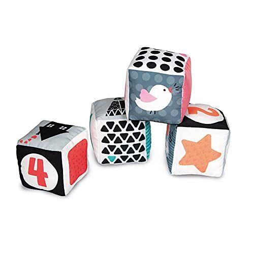 17321 Clementoni  You--zwart & wit kubussen peuters-4 zachte blokken, nieuw geboren babyspeelgoed, geschikt voor 0 maanden en ouder, meerkleurig