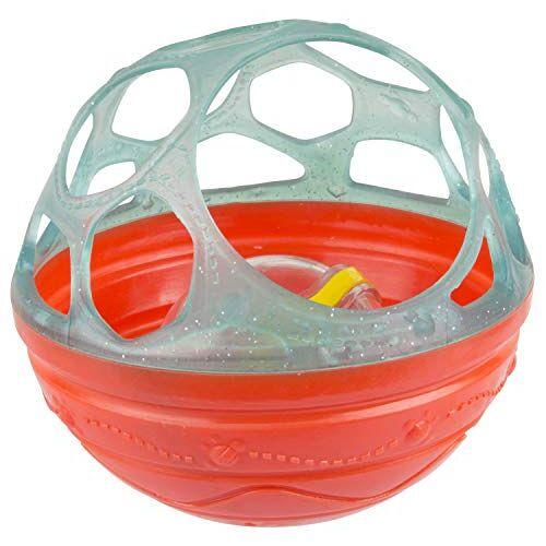40214 Playgro Bendy badsrammelbal, babyspeelgoed, vanaf 6 maanden, BPA-vrij, diameter: 12 cm, groen/rood,