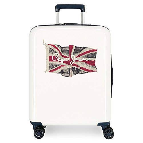 Koffer met harde schaal 55 cm Pepe Jeans FLAG wit