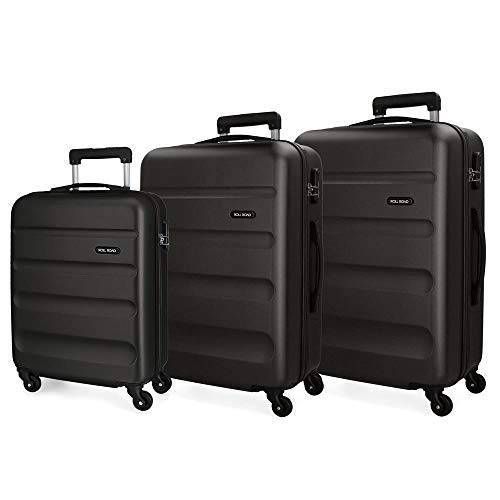 Koffer Set harde schaal 55-65-75 cm Roll Road Flex zwart
