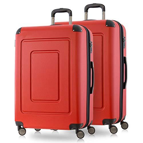 HT-1601-2x24-RT Happy Trolley Lugano handbagage kabinentrolley boordbagage harde koffer trolley reiskoffer, zeer licht, rood (rood)