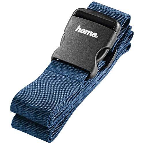 00105302 Hama bagageband, band voor het veilig sluiten van de koffers op reis, 5 x 200 cm, blauw (blauw)