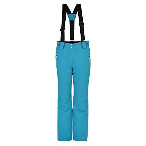 DWW463R 4JM16L Dare2b Intrigue broek voor dames, waterdicht en ademend loft, geïsoleerde slijtvaste ski- en snowboardsalopetbroek met hoge ruggengraat en geïntegreerde sneeuwbeenkappen zoet waterblauw, 16