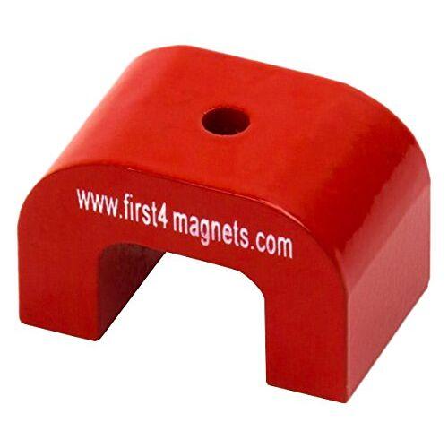first4magnets F4M811-1 kleine rode AlNiCo hoefijzermagneet 4,5 kg aantrekkingskracht (30 x 20 x 20 mm) (1 stuks)