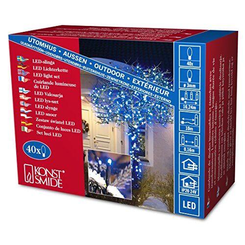 Konstsmide 3610-400 Micro LED lichtketting / voor buiten (IP44) / 24V buitentrafo / 40 blauwe diodes / zwarte kabel