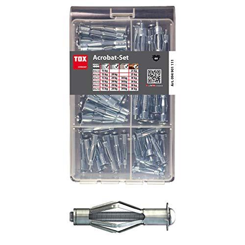 TOX metalen pluggen-assortiment Acrobat Set verzinkt 60 dlg, voor bevestiging in gipsplaten, 1 stuk, 094901111