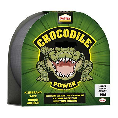 Pattex Crocodile Power Plakband, sterke weefseltape met dubbele dikte, extreme weerstand voor de moeilijkste reparaties, Duct Tape voor verschillende materialen 1 x 30m zilver