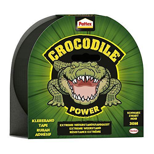 Pattex Crocodile Power Plakband, sterke weefseltape met dubbele dikte, extreme weerstand voor de moeilijkste reparaties, Duct Tape voor verschillende materialen 1 x 30m zwart