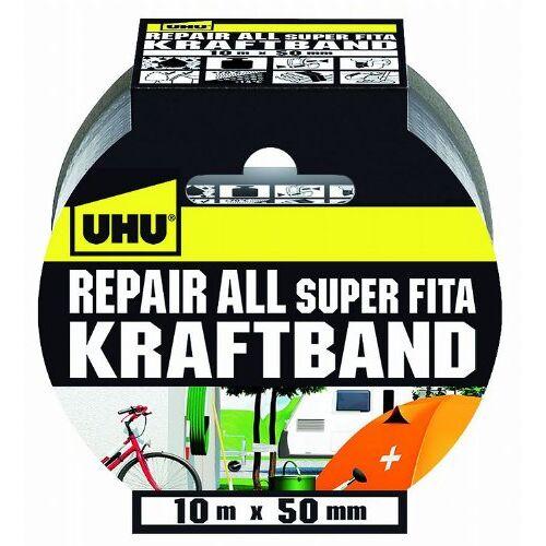 UHU Krachtband, extra sterke weefseltape voor reparatie, zilver, 50 mm x 10 m