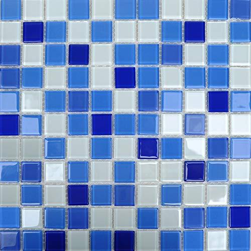 Armena 310254TZR36 Glazen tegels, 1 m², blauwmix voor de muren en de vloer van bad en zwembad, blauw
