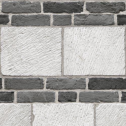 Muriva Ltd J64809 12 rollen net als het grote stenen behang, wit, medium, set van 12 stuks