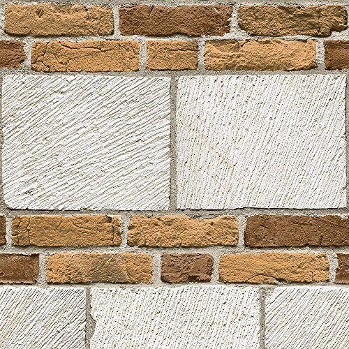 Muriva Ltd J64807 12 rollen net als het grote stenen behang, beige, medium, set van 12 stuks