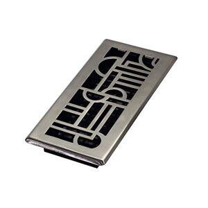 Decor Grates ADH410-NKL Art DECO vloerregister, geborsteld nikkel, 4-inch door 10-inch