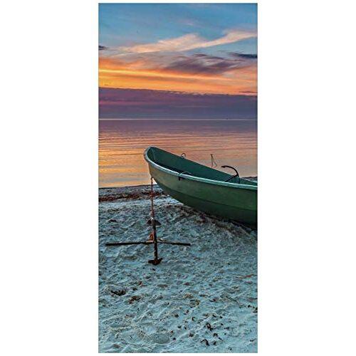 posterdepot Ktt0621 deurbehang deurposter eenzame vissersboot met anker op het strand grootte 93 x 205 cm