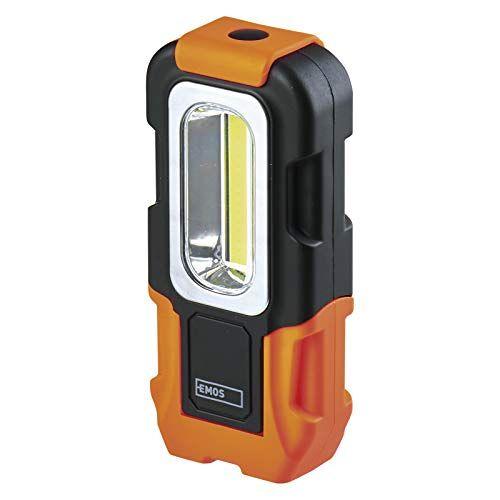 EMOS P3888 COB led-zaklamp/werklamp, werkplaatslamp met magneet en haak, lichtstroom 200 lumen, 20 m lichtbereik, werkt op batterijen