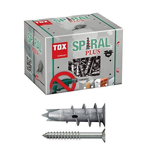 TOX Gipsplaatpluggen Spiral Plus 37-4 met verzonken schroef 4,5 x 50 mm, voor enkellaags en dubbelgeplante gipsplaten platen, 50 stuks, 068101041