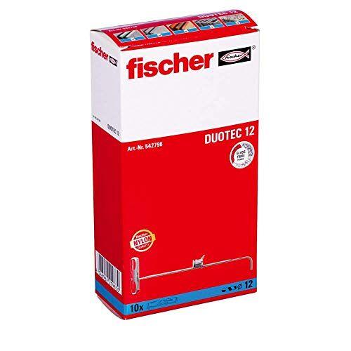 fischer DUOTEC kieppluggen voor het bevestigen van kasten, hangkasten UVM. in gipsplaat en gipsvezelplaat-10 stuks art.-nr. 542796, grijs/rood, 12