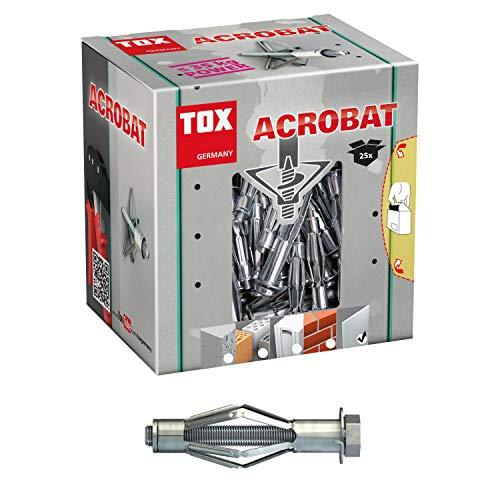 TOX Metalen holle pluggen Acrobat M8 x 55 mm verzinkt, voor bevestigingen in gipsplaten, 25 stuks, 035101171