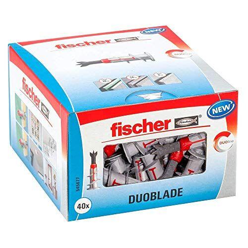 fischer DUOBLADE, zelfborende gipsplaatplug, sterke pluggen voor eenvoudige montage in gipskarton- en gipsvezelplaten, met centreerpunt van metaal, 40 stuks