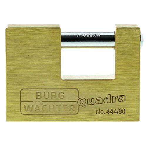Burg Wächter Hangslot, Quadro 444 90 SB, Incl. 2 sleutels, beugeldikte: 12 mm messing