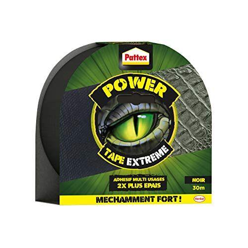 Pattex Power Tape, extreem plakband, 2-voudig, dik en resistent, plakband, extra klevend, voor reparaties, plakband, geschikt voor vele doeleinden, zwart, 30 m