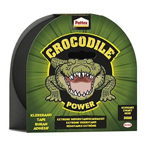 Pattex Crocodile Power Plakband, sterke weefseltape met dubbele dikte, extreme weerstand voor de moeilijkste reparaties, Duct Tape voor verschillende materialen 8 x 30m zwart