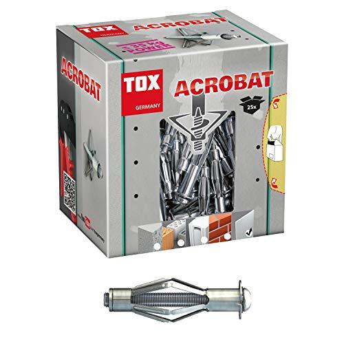TOX Metalen holle pluggen Acrobat M6 x 37 mm verzinkt, voor bevestigingen in gipsplaten, 25 stuks, 03510111