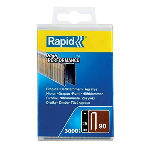 RAPID Tackerklemmen type 90, 25 mm klemmen, 3.000 stuks plastic doos, smalle rugklemmen voor hout met gehard oppervlak