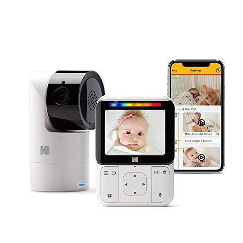 Kodak Cherish C225 videobabyfoon – mobiele en wifi-app, kantelen/zwenken/zoomende babycamera, 2,8-inch HD-babymonitor