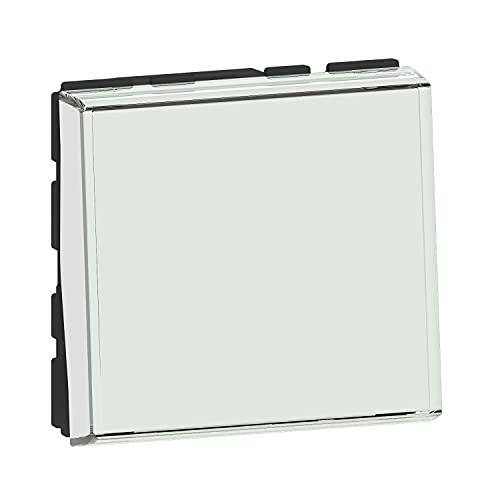 Legrand Unieke drukschakelaar met etikettenhouder voor etikettering, serie Mosaic Easy-led 6 A 2 modules,  drukknop met functie controlelampje door het toevoegen van mozaïekcontrolelampjes, Easye-LED