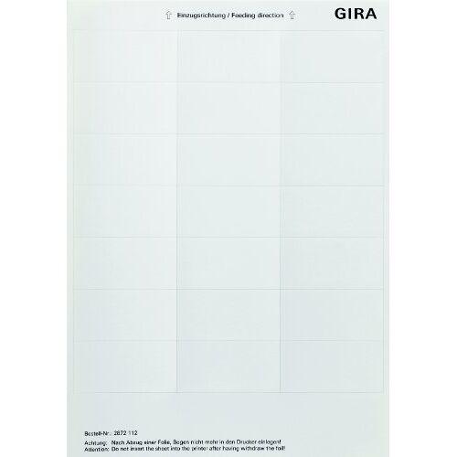 Gira 2872112 etiketteringsbladen accessoires, 33,5 x 67 mm, zuiver wit