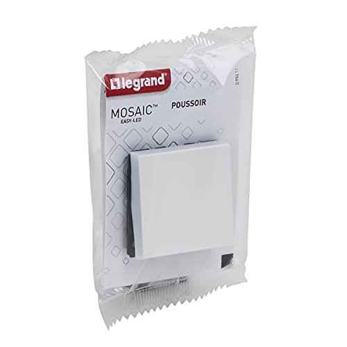 Legrand Inbouwdrukschakelaar, serie Mosaic Easy-LED 6 A 2 modules, centraliseert de verlichting, de  knop kan worden verlicht of controlelampje door het toevoegen van mozaïek Easye-LED