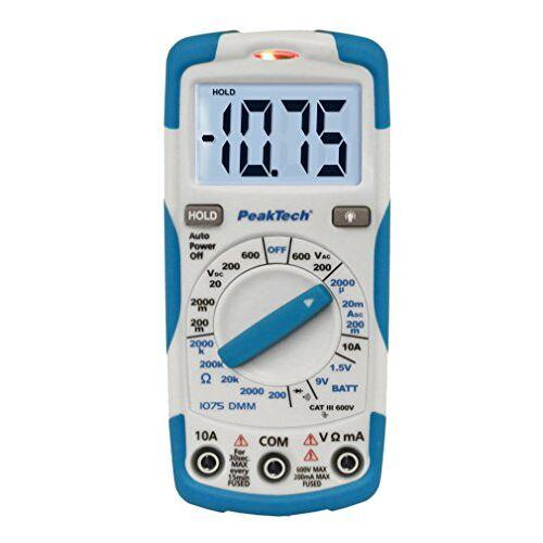 PeakTech P 1075 1075 – digitale multimeter NCV Cat III met verlicht LCD-display, batterijtester, handmultimeter, elektronische stroommeter, doorgangstester, spanningsmeter max. 600 V