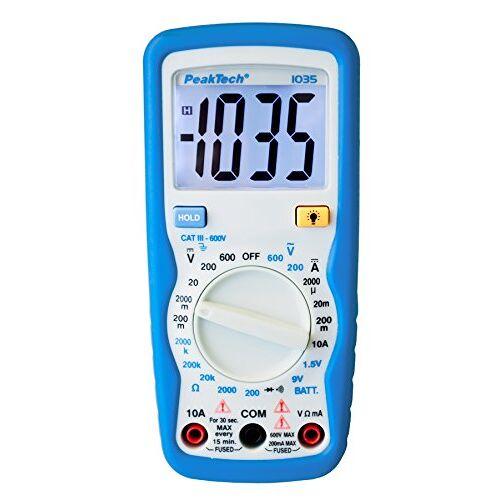 PeakTech 1035 – RMS digitale multimeter CAT III met display licht, batterijtester, spanningsmeter, handmultimeter, meetinstrument, voltmeter, elektronische stroommeter, doorgangsmeter – max. 600 V.
